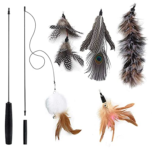 YeVhear - Pluma de juguete interactiva para gatos, juguete para gatos con varilla de pluma natural retráctil, juguete para gatos con 5 piezas de reemplazo de ángel de gato con campanas, juguetes para