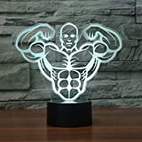 Tianyifengg 3D-LED-7 Color-Remote Control-Night Light-Aerobics Muscle Table Lamp New Novel Fitness Body Bedside Lamp Decoration