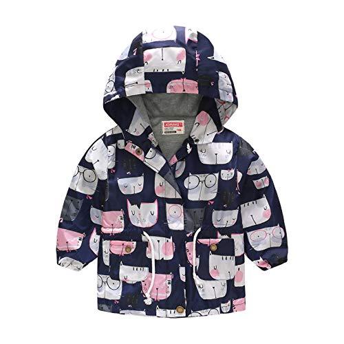 Mantel baby jongens meisjes lente herfst jas voor 2-8 jaar meisje dierdruk windjas capuchon trenchcoat jassen kinderen kleine kinderen winterjas outdoortrui