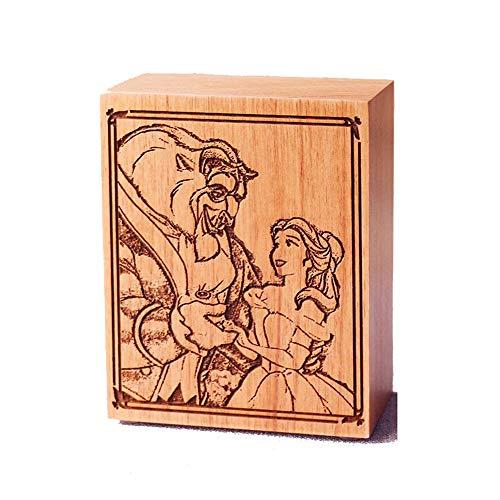 Die Schöne und das Biest Spieluhr aus Holz geschnitzt, Spieluhr mit 18 Noten, Mu...
