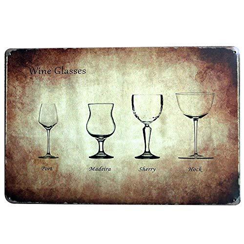 Placa de metal para copas de vino de Ninguna marca de metal pintado, decoración de cartel de advertencia para el hogar, café o café de 20 x 30 cm