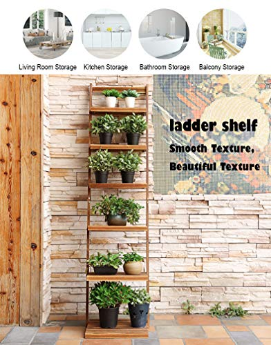 Book Shelf 6-Tier Leaning Ladder Shelf-Storage Organizer,Bookcase Book Display Shelf,Standing Wooden Shelves for Living Room, Home Office, Rustic Brown