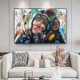 Impresiones en lienzo Moderno mono Graffiti arte lienzo pinturas calle arte lienzo carteles e impresiones pared arte animales imágenes niños habitación decoración de la pared Cuadro nórdico 50x70cm