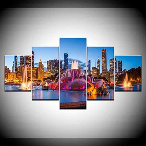 WRZWRM Moderne Dekoration Hd Drucke 5 Stücke Chicago Buckingham Brunnen Landschaft Poster Wandkunst Modulare Gemälde Leinwand