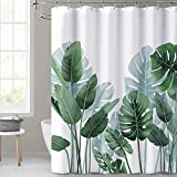 KGORGE Shower Curtains for Bathroom - Tropical Leaves Plant on White Background Odorless Curtain for Bathroom Showers and Bathtubs, 72 x 72 inches Long, Hooks Included
