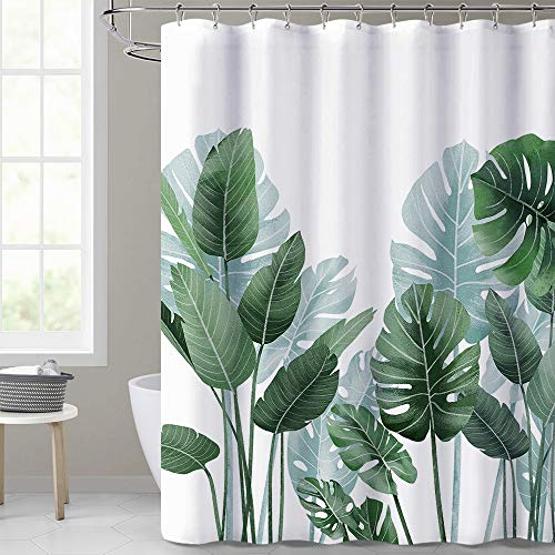 KGORGE Shower Curtains for Bathroom - Tropical Leaves Plant on White Background Odorless Curtain for Bathroom Showers and Bathtubs, 72 x 72 inches...