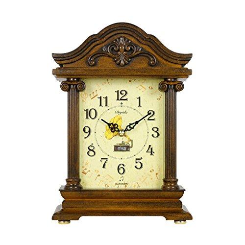 SESO UK- Reloj de Mesa Antiguo Americano de Mantla Reloj del carillón del Bluetooth Cada Hora Relojes Decorativos para la Sala de Estar (Color : Light Brown)