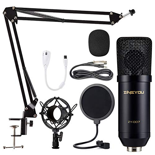 ZINGYOU Condenser Microphone Computer Mic Kit ZY-007 Professional Studio Recording Bundle for Streaming Gaming Broadcasting Singing Videos with Arm Stand Shock Mount Pop Filter and Sound Adapter