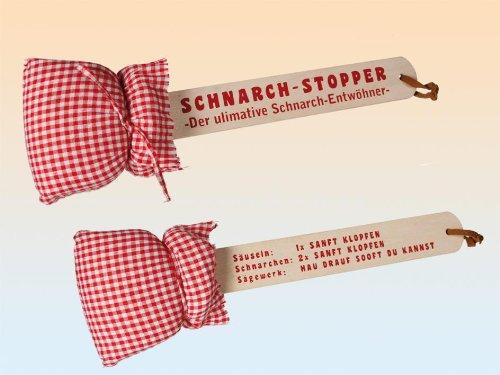 Der ultimative Schnarch-Entwöhner, Schnach-Stopper mit Schaumstoffkissen und Holzgriff, Scherzartikel
