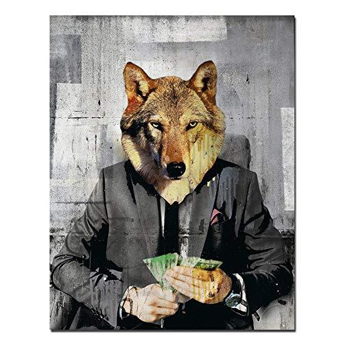 """Leinwand Malerei Leinwand Wandkunst Der Wolf Modern Pop von Wall Street Office Art Bild für Wohnkultur 30x40 cm / 11,8""""x 15,7""""Kein Rahmen-1"""