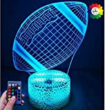 Créatif 3D Rugby Nuit Lampe Art Déco Lampe Lumières LED Décoration Lampes Contrôle à distance 7/16 Couleurs Change Veilleuse USB Powered Enfants Cadeau Anniversaire Noël Cadeaux