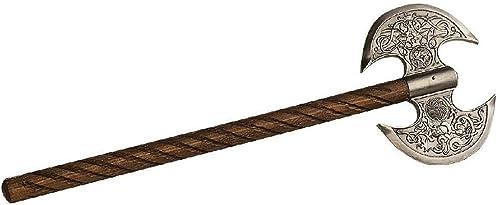 Deko, Mittelalterliche Doppelaxt von Marto, Toledo, aufw ig graviert, rostfreier Stahl, Kampfaxt