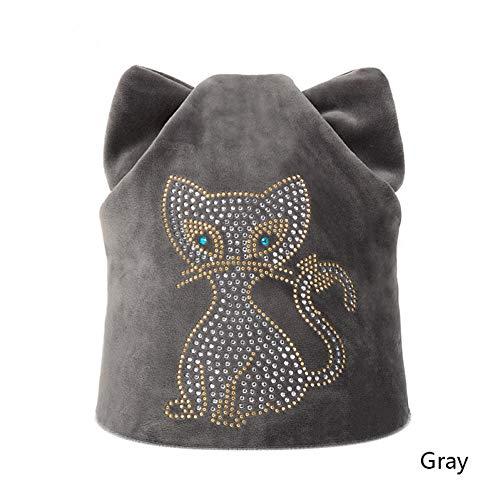 Muts merk scullies beanies warme hoed vrije tijd winter hoed diamant beanie gebreide muts winter kat dames breien hoeden voor vrouwen