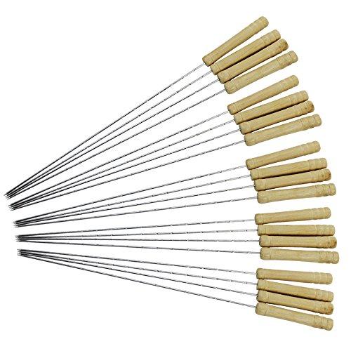 com-four® 20 Luxus Schaschlik- und Grillspieße aus Edelstahl mit Holzgriff, 38,5 cm