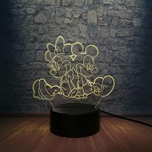 Lampe 3D Cartoon Mickey Mouse Minnie Amis LED Veilleuse 7 Changement de Couleur USB Commutateur Base De Noël Décoratif Kid Jouets Cadeau