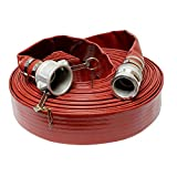 BISupply Discharge Hose – 2in in by 100ft Flat Lay Pump Discharge Hose with Cam Lock Fit...