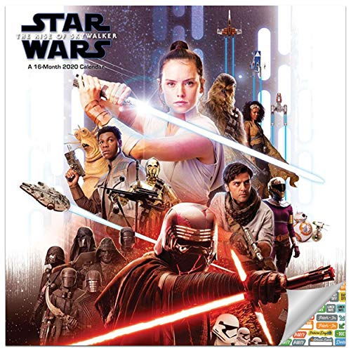 Star Wars Rise of Skywalker Episode 9 Calendar 2020 Bundle - Deluxe 2020 Star Wars Wall Calendar with Over 100 Calendar Stickers