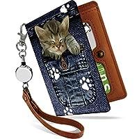 パスケース リール付き ネコ ミケ ジーパン デニム 二つ折り 定期入れ 2枚 3枚 4枚 カードケース カード入れ 猫柄 ねこがら ねこ 猫 キャット [ネコ ミケ/ps]