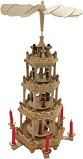 Pioneer-Effort Christmas Wooden Pyramid 22 Inch -4Tier with Hand-Painted Nativity Figurines with Turning Wings with 6 candleholders