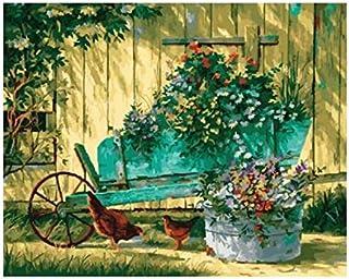 Carretilla con flores Bodegón lienzo pintura pintura por número pintados a mano cuadros decorativos para sala de estar 40X50 CM, enmarcados