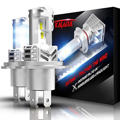 KATANA Fanless H4 LED Headlight Bulbs   Wireless 9003 All-in-One Conversion Kit   PHI Chips 12000LM Super Bright 6500K Xenon White