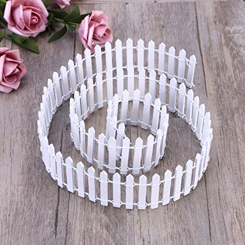 PRETYZOOM 40 Inch White Wood Picket Fence Miniature Fairy Garden Ornament Small Wooden Fence Craft Micro Landscaping Decor DIY Accessories(2 Pack)