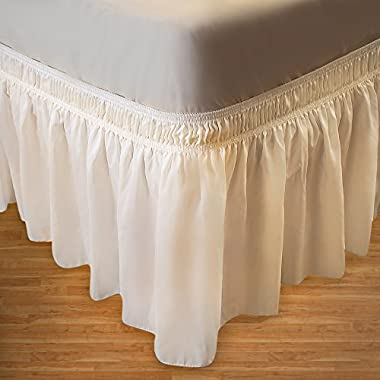 Biscaynebay Wrap Around Bed Skirt, Elastic Dust Ruffle Easy Fit Wrinkle and Fade Resistant Solid Color Hotel Quality Fabric (Queen, Ivory)