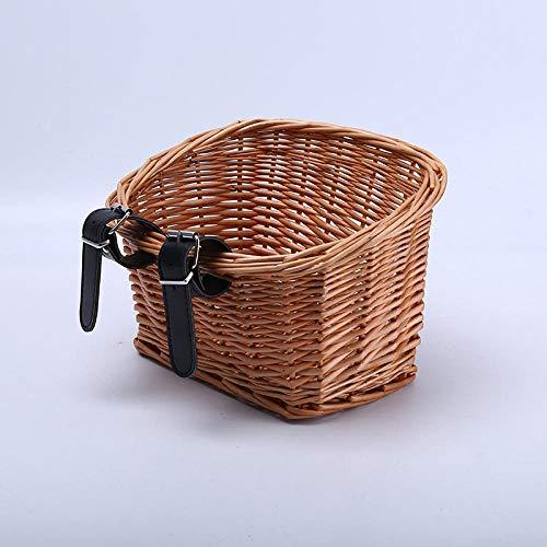 Eastbride Cesta de Bicicleta de Mimbre Vintage, Cesta Delantera de Bicicleta de Mimbre con Correas de Cuero marrón Claro, artesanía Popular, para Almacenamiento de Bicicletas-E