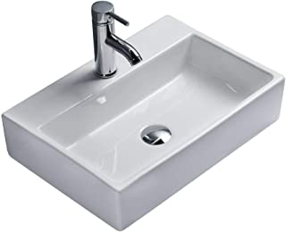 Lavabo Blanche Vasque de Salle de Bain Rectangulaire en C/éramique Evier a Poser Vasque a Poser-avec Robinet/_B:410X300X130MM