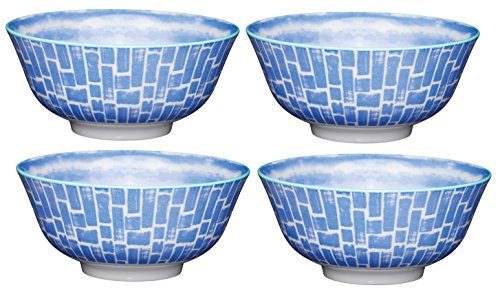 Kitchencraft à Pied Tile-Patterned Bols, 15.5 cm (15,2 cm) (Lot de 4), en CÉRAMIQUE, Bleu, 15.5 x 15.5 x 7.5 cm