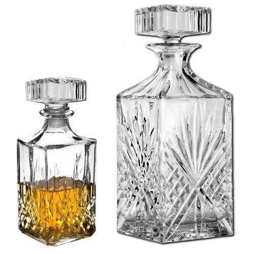 Karaffen-Set für Whisky, Sherry, Likör, Wein, Brandy mit Gläsern und Karaffen, Glas 1L CRYSTAL DECANTER