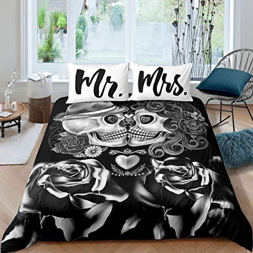 Loussiesd Juego de ropa de cama con diseño de esqueleto, color blanco, negro y rosa, juego de funda nórdica para parejas de adultos, 135 x 200 cm, diseño de esqueleto