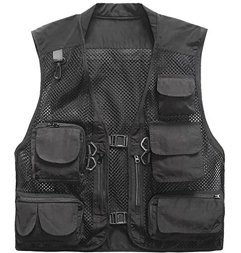 Outdoor Quick-Dry Fishing Vest; Marsway Multi Pockets Mesh Vest Fishing Hunting Waistcoat Travel Photography Jackets Black XXX-Large