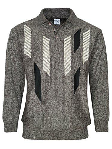 MIAN-MODE Herren Polo-Pullover mit kurzer Knopfleiste-Braun-2XL