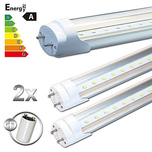 LEDVero 2x SMD LED Röhre/Tube Leuchtstoffröhre T8 G13 transparent Abdeckung - 90 cm, 14W, warmweiß 3000K, 1400lm- montagefertig LDLM172