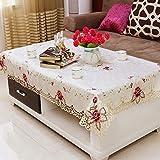 YQHWLKJ Home Hotel Pranzo Matrimonio Bianco Rosso Tovaglia con Pizzo Ricamato Floreale Rettangolare Tovaglia per Tovaglie