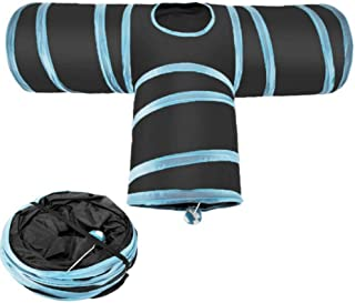 CIOGO Collapsible Pet Cat Tunnel Premium Three Way Extensible Collapsible Cat Tunnel Cat Puppy Rabbit Toy Tubes & Tunnels