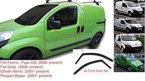 2x Windabweiser Kompatibel Für FIAT Fiorino FIAT Qubo Citroën Nemo Peugeot Bipper 2007 2008 2009 2010 2011 2012 2013 2014 2015 2016 2017 2018 2019 2020 Acrylglas PMMA Regenabweiser Abweiser