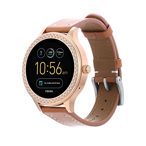 Full Grain Leather Watch Band for Fossil Q Ventrue,18MM Genuine Leather Band with Quick Released Pins for Q Venture and MK Sofie/Access Runway Smartwatch-Brown