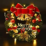 Christmas Wreaths Decorations, Coxeer 40CM Garland Ornament Artificial Christmas Wreaths for Front Door Wall Decoration Xmas Wreath Decorations Party Bells Balls Red Bowknot with Letter Merry Christmas