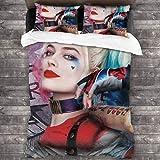 Sonickingmall Suicide Squad Clown Girl Halle Quinn - Juego de ropa de cama supersuave y transpirable, cierre de cremallera y cornerTie (3 piezas) (1 funda de edredón y 2 fundas de almohada)