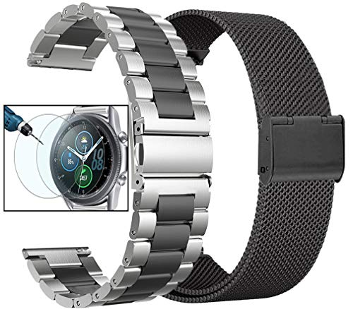 Valkit Compatible with Galaxy Watch 3 41mm/Galaxy Watch 4 Band for Women Men, 2 Pack 20mm Stainless Steel Metal Mesh Bands for Samsung Galaxy Watch 4 Classic/Galaxy Watch 42mm/Active 2,Sliver/Black