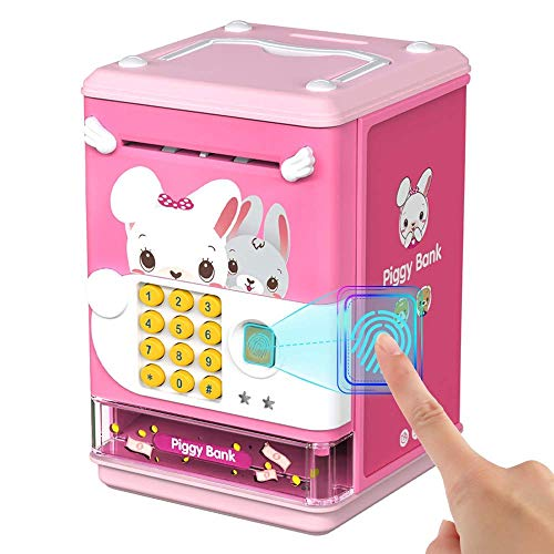 Deejoy Piggy Bank Toy Electronic Mini ATM Savings Machine with Personal Password & Fingerprint Unlocking Simulation - Music Box with Songs for Kids, Boys and Girls Age 3 4 5 6 7 8 Years (Pink)