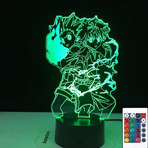 Lámpara de ilusión 3D Led Night Light Gon y Killua Figura Anime Hunter X Hunter para niño Dormitorio Decoración Ing Boy Regalo Hxh