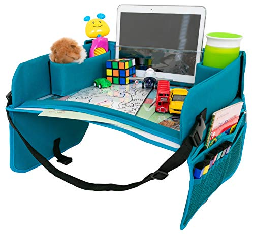 Kids Travel Tray for Carseat - Dry Erase Surface and Bonus Creative Cards, Toddler Travel Activity Tray, Travel Tray for Booster Seat, Lap Table for Car Seat, Child Snack Play Tray