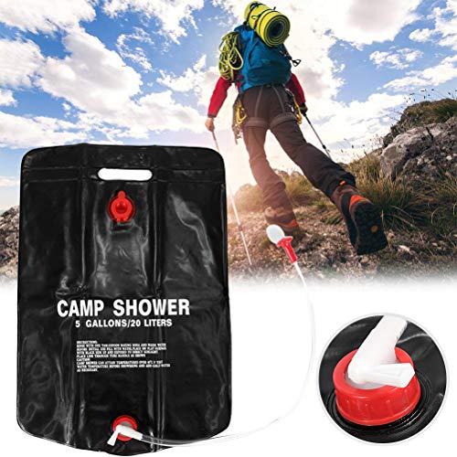 Lipeed Ducha solar de camping con alcachofa de ducha, bolsa de ducha con calefacción, 20 L, con alcachofa de ducha, manguera, mango y cuerda para colgar, para viajes de senderismo y escalada