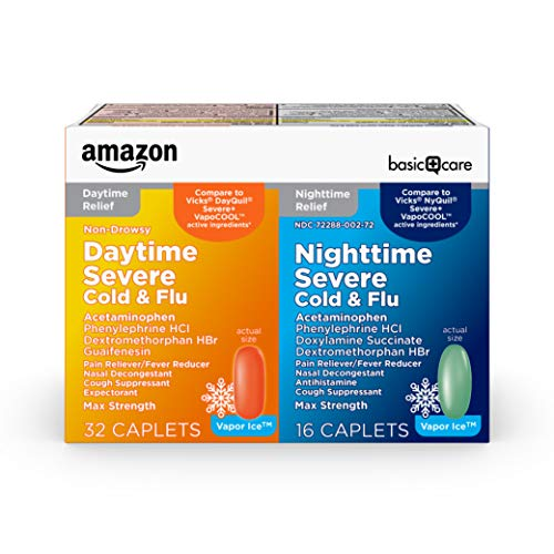 Amazon Basic Care Vapor Ice Daytime and Nighttime Severe Cold and Flu,...