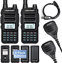 TIDRADIO TD-H5 GMRS Radio with 4pcs 1500mah Batteries,Handheld 5W Long Range Two Way Radio for Adults,GMRS Repeater Capable,with NOAA Dual Band Scanning Receiver,Programming Cable Included (2 Pack)
