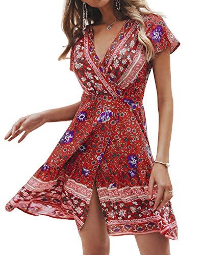 Style Dome Sommerkled Damen Crop V-Ausschnitt Kurzarm Minikleid Blumen Floral Wickelkleid für Strand Rot-991214 M