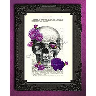 Skull and purple roses poster, mauve flowers gothic wall art, violet floral artwork on original book page